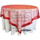 Yuvarlak Masa Örtüsü Dantel Kapak Kırmızı
