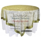 Yuvarlak Masa Örtüsü Dantel Kapak Moss Yeşili