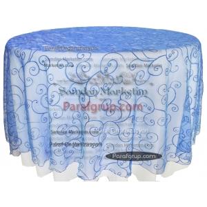 Masa Örtüsü Royal Mavi Dantel Kapak
